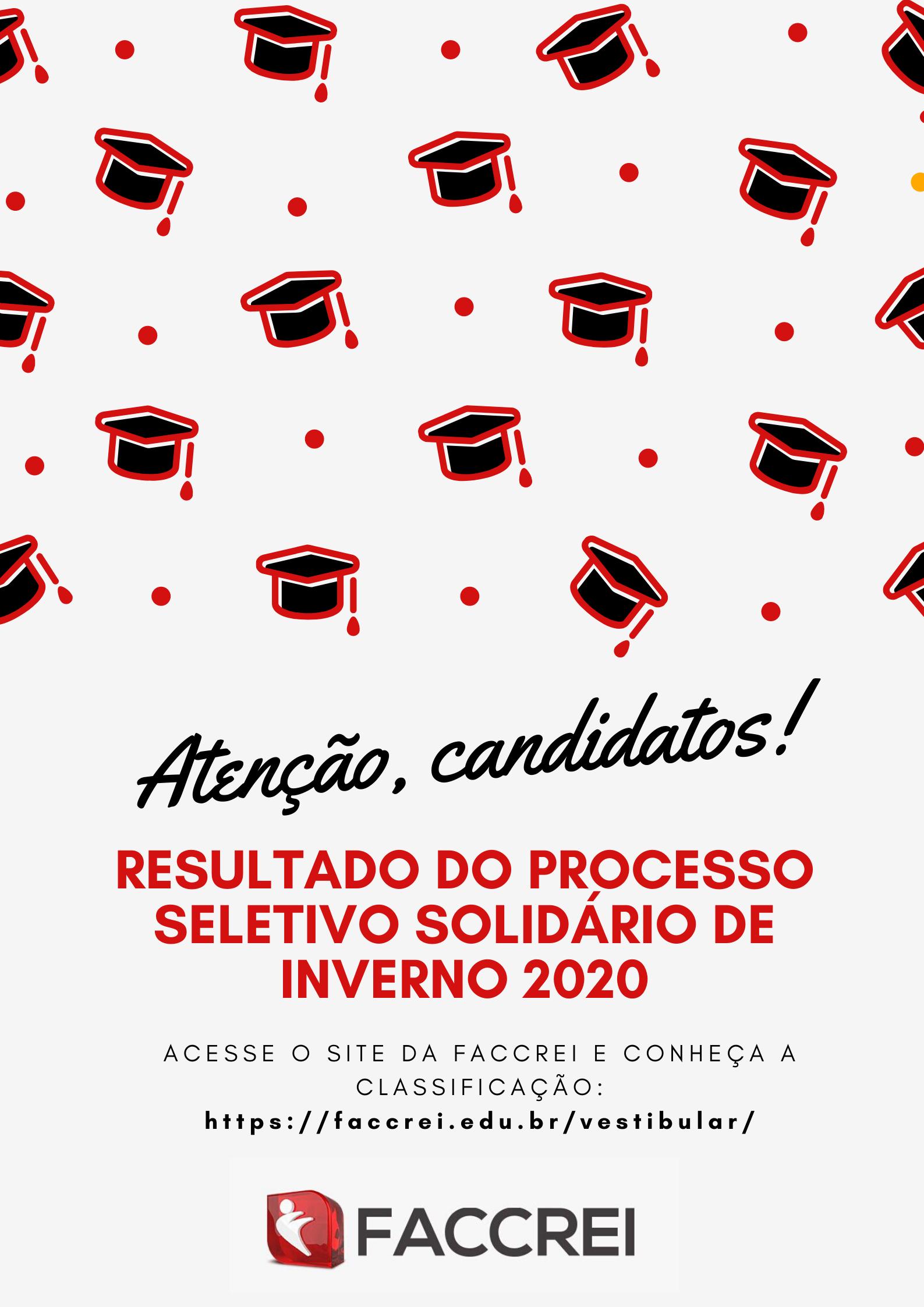 RESULTADO DO PROCESSO SELETIVO SOLIDÁRIO DE INVERNO 2020
